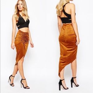 ASOS suede midi asymmetrical skirt